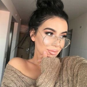 'Face Candy'Oversized clear gold aviator glasses